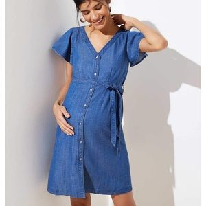 LOFT maternity flutter shirt dress